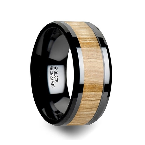 THORSTEN - BILTMORE Black Ceramic Ring with Polished Bevels and Ash Wood Inlay - 10mm
