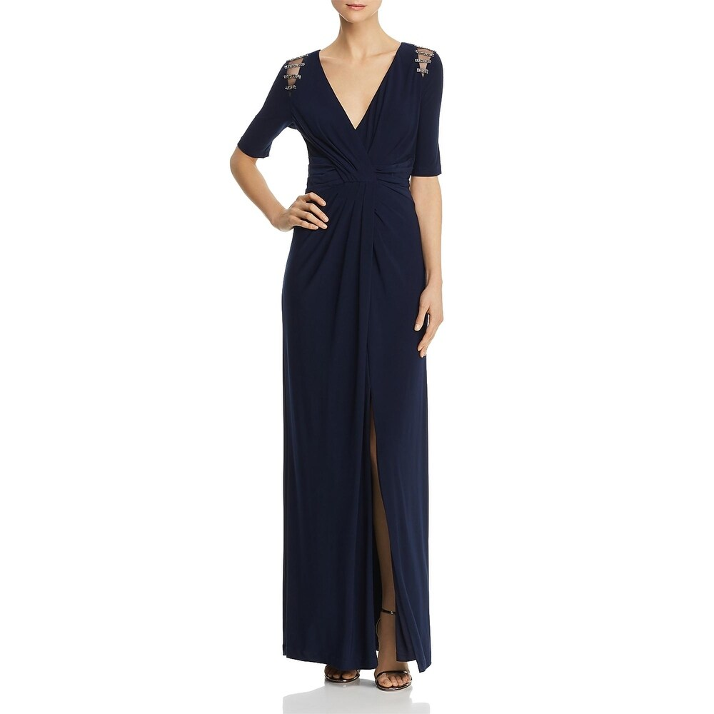 Adrianna Papell Womens Evening Dress Embellished Illusion