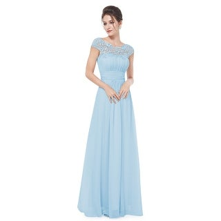 Ever-Pretty Womens Cap Sleeve Lace Neckline Ruched Bust Evening Dresses 09993