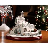 "Pack of 2 Icy Crystal Animated Musical Train and Sled Village Figurines 8.5"" - WHITE"