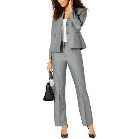Le Suit Womens Peak Lapel Two Button Blazer Jacket, Grey, 12P