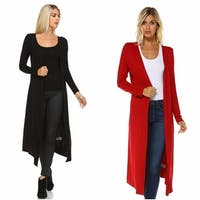 Isaac Liev Extra Long Soft & Lightweight Flyaway Open Front Cardigan Duster