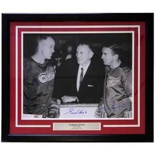 Gordie Howe Ted Lindsay Signed Framed 16x20 Photo JSA PSA Graded 10 10 LOA