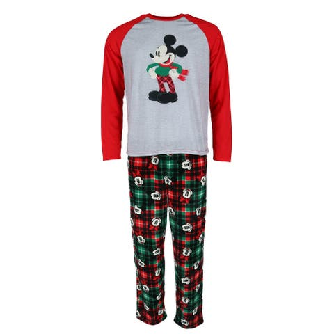 Disney Men's Holiday Print Mickey Mouse Pajama Set