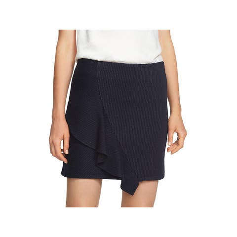 1.State Womens A-Line Skirt Pinstripe Ruffled
