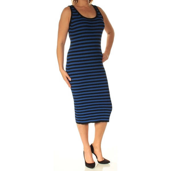 0bd942eab544d Shop MICHAEL KORS  140 Womens New 1104 Blue Black Striped Body Con Dress L  B+B - Free Shipping On Orders Over  45 - Overstock - 22424466