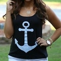 Anchor Print Womens Summer Casual Sleeveless Blouse Tank Tops T-Shirt Tee - Thumbnail 3
