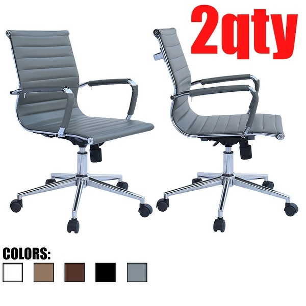 Set of 2 Office Chair With Wheels Ergonomic Executive PU Leather Arm Rest Tilt Adjustable Height Swivel Task Computer, Gray. Opens flyout.