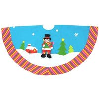 "48"" Sky Blue Winter Wonderland Snowman Christmas Tree Skirt"