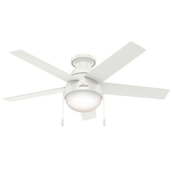 """Hunter 46"""" Anslee Low Profile Ceiling Fan with LED Light Kit and Pull Chain - Fresh White"""