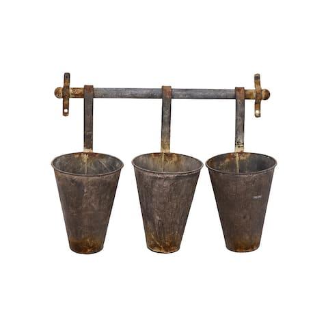 Antiqued Metal Wall Rack with 3 Hanging Tin Pots - Grey