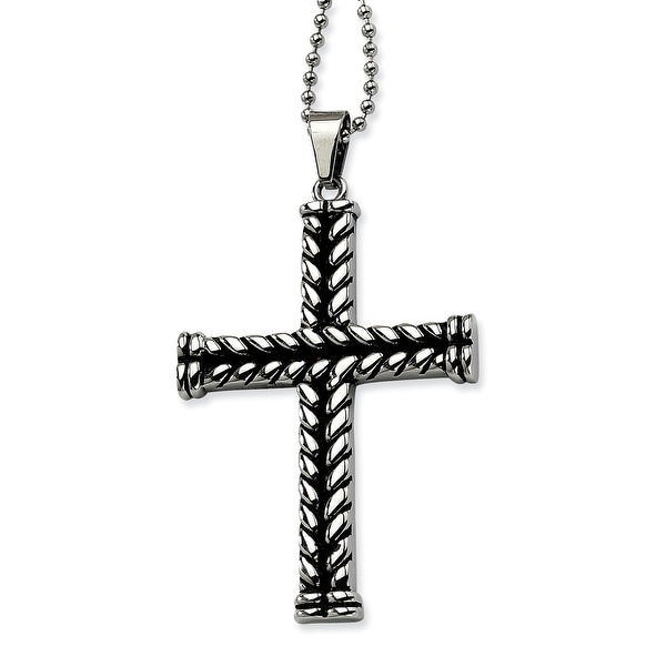 Chisel Stainless Steel Black Plated Cross Pendant 24 Inch Necklace (1 mm) - 24 in