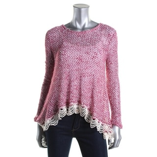 Oh MG! Womens Juniors Crochet Lace Trim Pullover Top