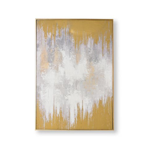 "Graham and Brown 104018 Lakeside Reflection 39"" x 28"" Framed Abstract Painting on Stretched Canvas - Gold"
