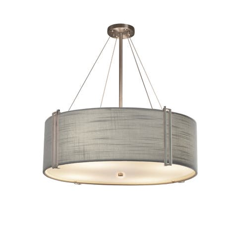 Textile? Reveal 48-inch Brushed Nickel Drum Pendant, Gray Shade