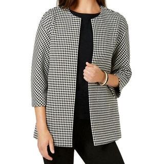 Anne Klein Women's Topper Jacket Black White Size 10 Bonded Tweed