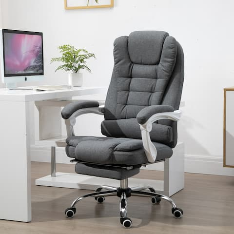 Vinsetto Office Chair Computer Swivel Rolling Task Chair with Retractable Footrest & Height Adjustable Comfortable with Armrests