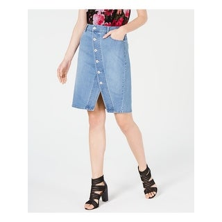 Link to INC Womens Blue Above The Knee A-Line Skirt  Size 6 Similar Items in Skirts