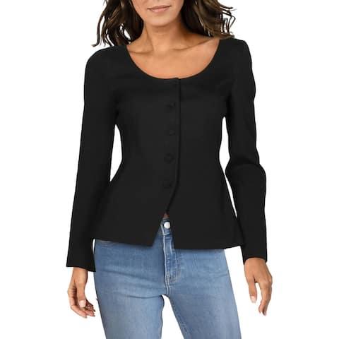 Theory Womens Blazer Textured Business - Black