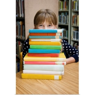 """""""Girl looking over stack of books"""" Poster Print"""