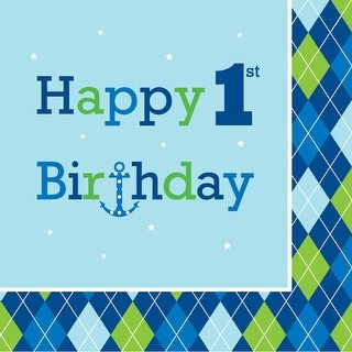 """Club Pack of 192 Ocean Preppy """"Happy 1st Birthday"""" Premium 3-Ply Disposable Lunch Napkins 6.5"""""""