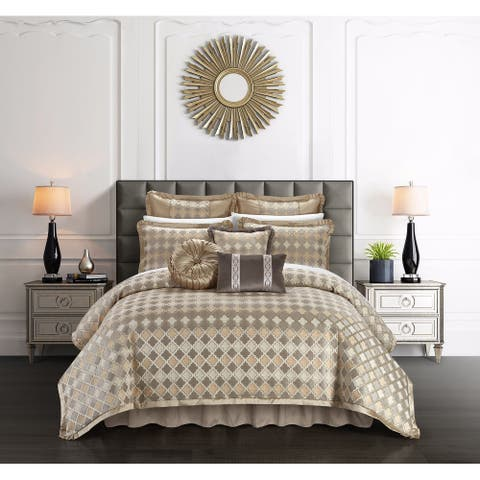 Chic Home Suelyn 9 Piece Chenille Design Comforter Set, Beige