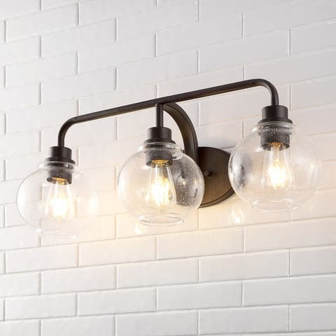 Sandrine Iron/Seeded Glass Cottage Rustic LED Vanity Light by JONATHAN Y