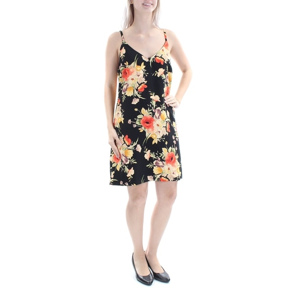 9b4b7afc43ae9 SANCTUARY Womens Yellow Floral Spaghetti Strap V Neck Above The Knee A-Line  Dress Size: S