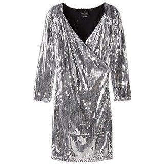 Blvd Collection Womens Sequined 3/4 Sleeves Cocktail Dress - S