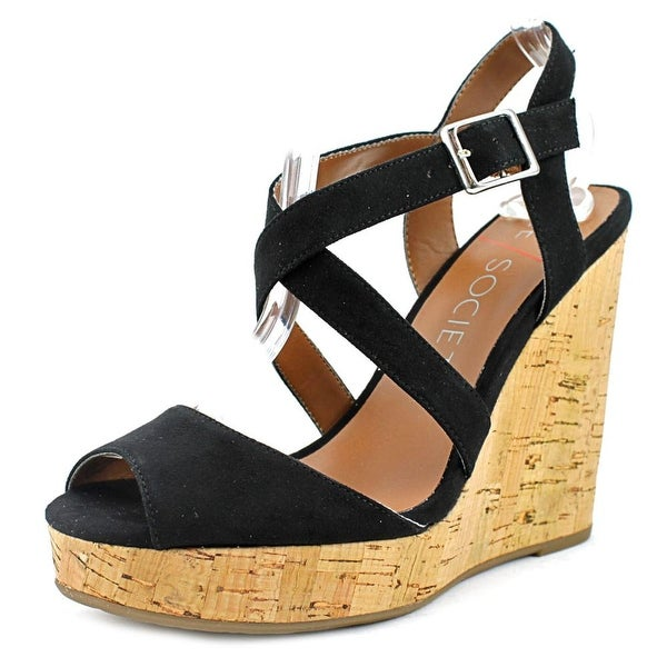 Sole Society Betsy Women Open Toe Suede Black Wedge Sandal