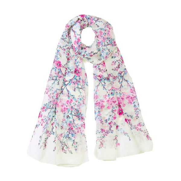 """Long Chiffon Beach Scarf Silk Scarves Floral Scarves for Women White-2 - White-Purple Flower Print - 63""""x20"""". Opens flyout."""