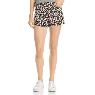 Paige Womens Denim Shorts Animal Print Raw Hem - Pink Leopard