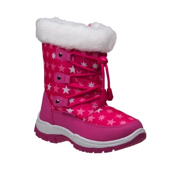 7fc32a43e Rugged Bear Girls Fuchsia Star Pattern Faux Fur Trim Snow Boots