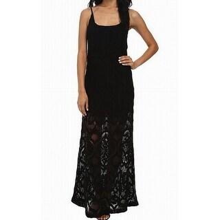 NIGHTCAP NEW Black Women Size 4 Spag Strap Maxi Crochet Day Gown