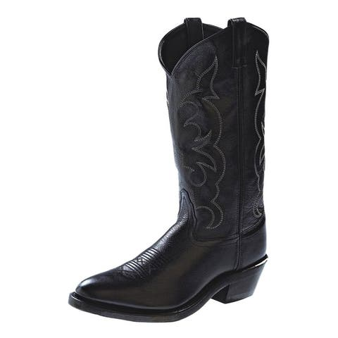 "Old West Cowboy Boots Mens 13"" Tough Outsole Narrow Toe Black"