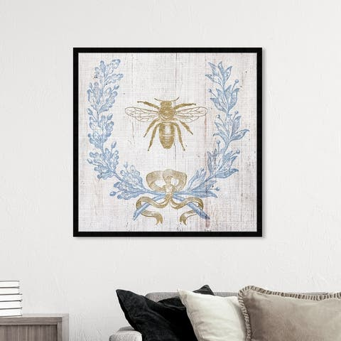 Oliver Gal 'Wreath and Ribbon I' Floral and Botanical Wall Art Framed Print Florals - Blue, Gold
