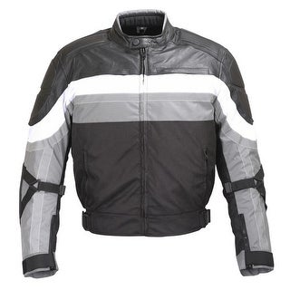 MEN BLACK GREY WHITE TEXTILE/LEATHER MOTORCYCLE JACKET REFLECTIVE STRIPES MBJ065