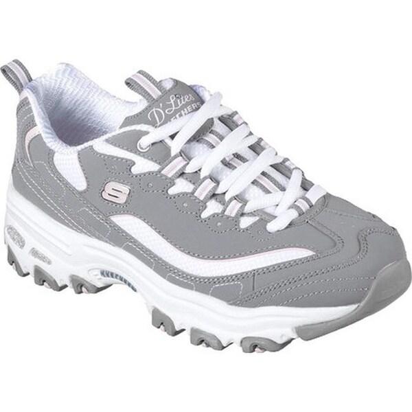 87fa3793b2cc Shop Skechers Women s D Lites Sneaker Biggest Fan Gray White - On ...