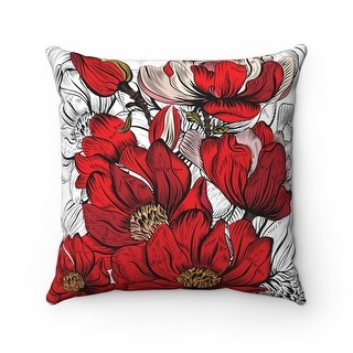 Floral Pattern Reversible Decorative Flower Throw Pillow Cover
