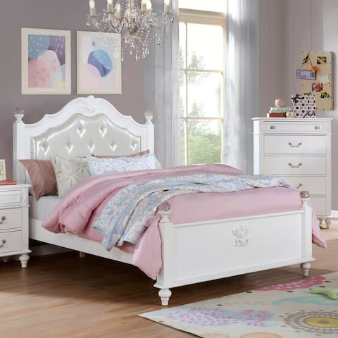 Furniture of America Marais Industrial White Tufted Panel Bed
