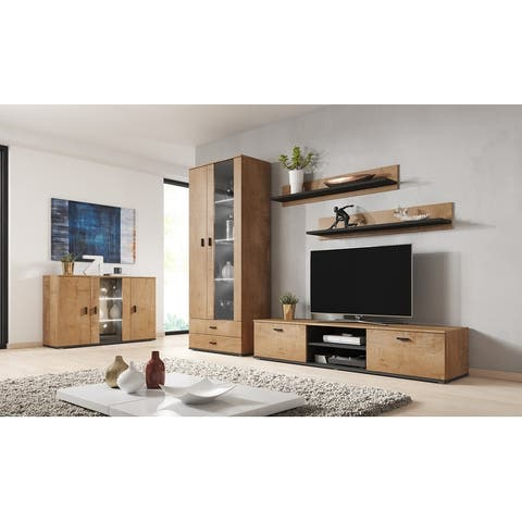 Soho 9 Modern Wall Unit Entertainment Center with 16 Color LED Lights