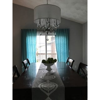 silver mist hanging crystal drum shade chandelier by tribecca home, Lighting ideas