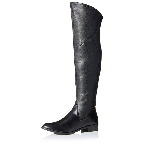 Tahari NEW Black Shoes Size 6.5M Knee-High Faux-Leather Boots