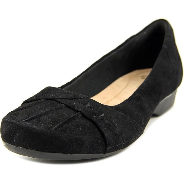 Clarks Narrative Blanche Fria Women Round Toe Suede Black Flats