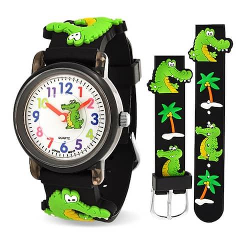 3D Crocodile Alligator Waterproof Wrist Watch Time Teacher Quartz Cartoon Black Silicone Wristband Round Colorful Dial