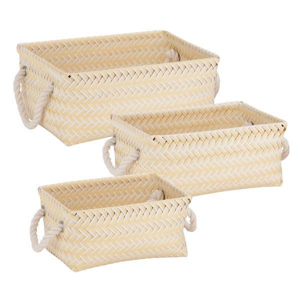 Honey Can Do STO-06684 Zig Zag Tote Bin, White/Yellow, Polypropylene, Set of 3