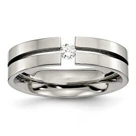 Chisel Polished Titanium and 1/10ct. Diamond Ring (6.0 mm)