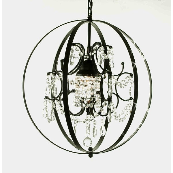 "FOUCAULT'S ORB CRYSTAL CHANDELIER LIGHTING! H17.5"" X W17.5"""