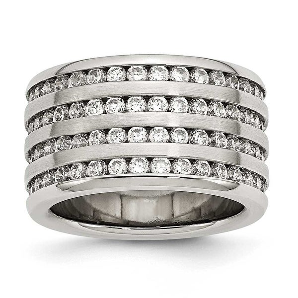 Stainelss Steel Multirow 13mm CZ Ring