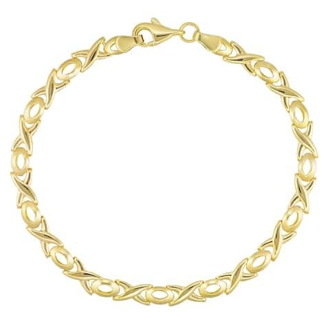 "Forever Last 10KT Gold Bonded over Silver 7.5"" Yellow "" X/O"" Bracelet"